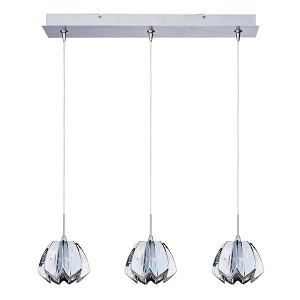 "Minx Collection 3-Light 24.25"" Satin Nickel Linear Pendant and Mirror Chrome Glass E94813-56SN"