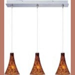 "Minx Collection 3-Light 7.5"" Satin Nickel Linear Pendant and Amber Leopard Glass E94831-104SN"