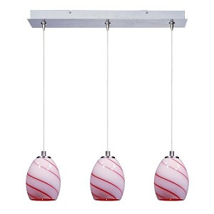 "Minx Collection 3-Light 7.5"" Satin Nickel Linear Pendant and Cherry Swirl Glass E94836-107SN"