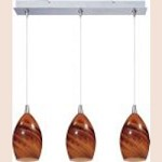 "Minx Collection 3-Light 10.5"" Satin Nickel Linear Pendant and Sunset Glass E94840-114SN"