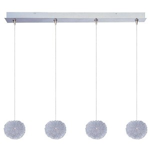 "Minx Collection 4-Light 34.25"" Brushed Aluminum Linear Pendant E94920-AL"