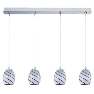 "Minx Collection 4-Light 34.25"" Satin Nickel Linear Pendant and Grape Swirl Glass E94937-108SN"
