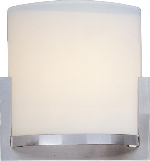 "Elements Collection 1-Light 7.25"" Satin Nickel Wall Sconce and Satin White Glass E95080-92SN"