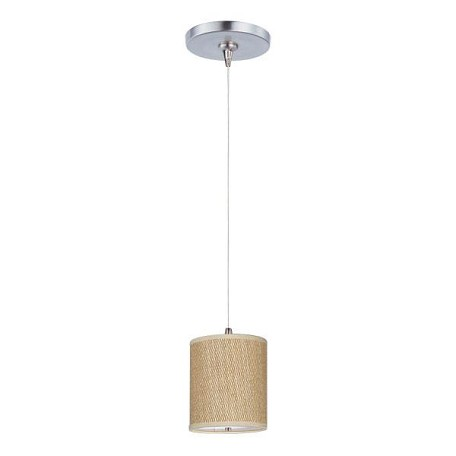 Satin Nickel / Grass Cloth 1 Light 6.75in. Wide RapidJack Pendant and Canopy from the Elements Collection
