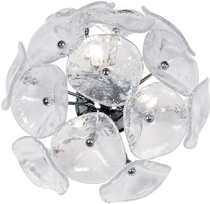 "Cassini Series 3-Light 16"" Clear Murano Glass Wall Sconce or Ceiling Mount Fixture E22091-28"