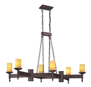 "Academy Collection 6-Light 18"" Weathered Rust Island Fixture F2586"