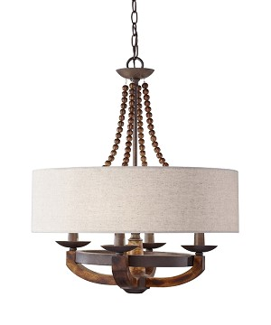 "Adan Collection 4-Light 25"" Rustic Iron Chandelier with Burnished Wood Accents and Beige Drum Shade F2752/4RI/BWD"