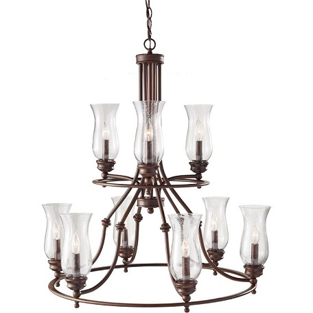 Feiss Nine Light Heritage Bronze Clear Seeded Glass Up Chandelier - F2785/3+6HTBZ