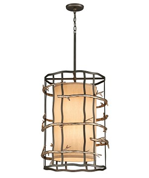"Adirondack Collection 6-Light 18"" Graphite And Silver Pendant F2884"