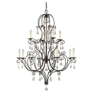 "Chateau Collection 12-Light 47"" Mocha Bronze Chandelier with Crystal F1938/8+4MBZ"