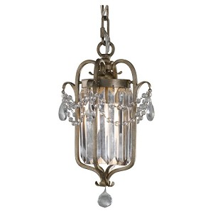 "Gianna Collection 1-Light 12"" Gilded Silver Leaf Mini Chandelier with Crystal F2474/1GS"