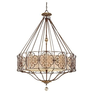 "Marcella Collection 4-Light 44"" British Oxidized Bronze Chandelier with Drum Shade F2603/4BRB/OBZ"