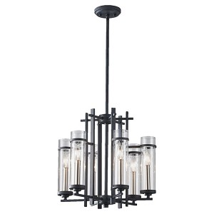 "Ethan Collection 6-Light 18"" Antique Forged Iron Chandelier with Clear Cylindrical Glass F2631/6AF/BS"