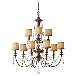 "Clarissa Collection 9-Light 36"" Firenze Gold Chandelier F2725/6+3FG"