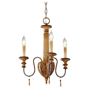 "Annabelle Collection 3-Light 16"" Ivory Crackle Chandelier F2735/3IC"