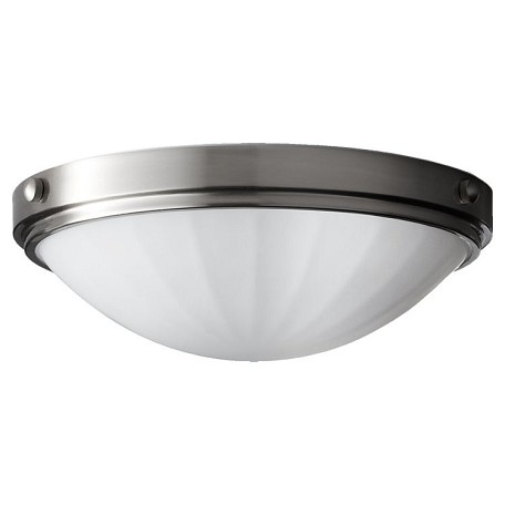 "Perry Collection 2-Light 13"" Brushed Steel Flush Mount FM352BS"