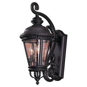 "Castle Collection 3-Light 22"" Black Outdoor Wall Light OL1901BK"