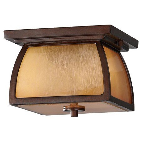 "Wright House Collection 2-Light 9"" Sorrel Brown Outdoor Ceiling Light OL8513SBR"