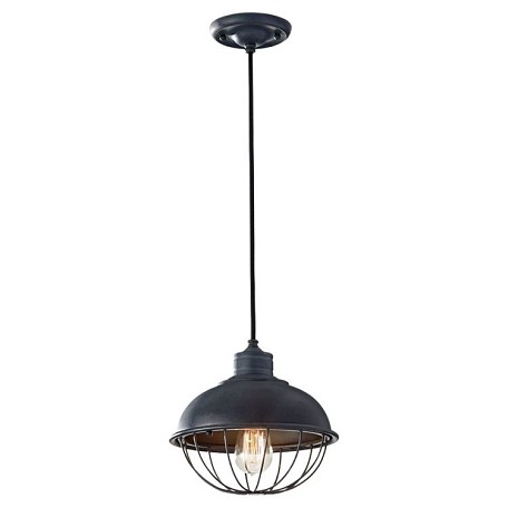 "Urban Renewal Collection 1-Light 10"" Antique Forged Iron Mini Pendant P1242AF"