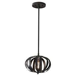 "Woodstock Collection 1-Light 8"" Textured Black Pendant P1257TXB"