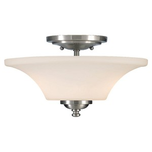 "Barrington Collection 2-Light 13"" Brushed Steel Semi-Flush Mount SF240BS"