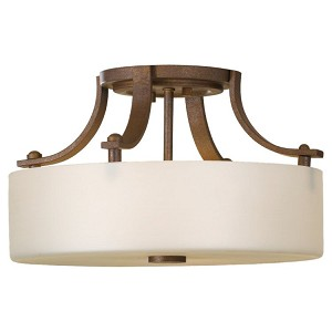 "Sunset Drive Collection 2-Light 13"" Corinthian Bronze Semi-Flush Mount with Pearl Glass SF259CB"