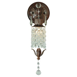 "Maison De Ville Collection 1-Light 14"" British Bronze Wall Sconce with Crystal WB1216BRB"