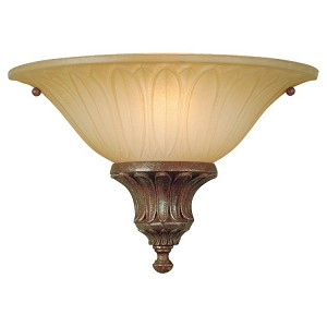 "Stirling Castle Collection 1-Light 13"" British Bronze Wall Light with Antique excavation glass shade Shade WB1236BRB"