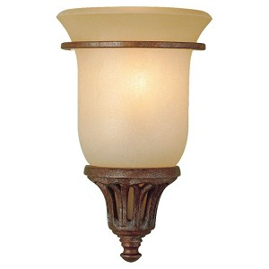"Stirling Castle Collection 1-Light 6"" British Bronze Wall Light with Antique excavation glass shade Shade WB1237BRB"