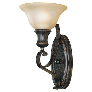 "Cervantes Collection 1-Light 13"" Liberty Bronze Wall Sconce with Gold Luster Sand Blasted Shade WB1240LBR"