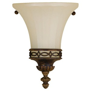 "Drawing Room Collection 1-Light 6"" Walnut Wall Sconce with Amber snow scavo glass shade Shade WB1330WAL"