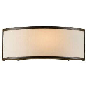 "Stelle Collection 1-Light 12"" Oil Rubbed Bronze Wall Sconce with Cream Linen Shade WB1461ORB"