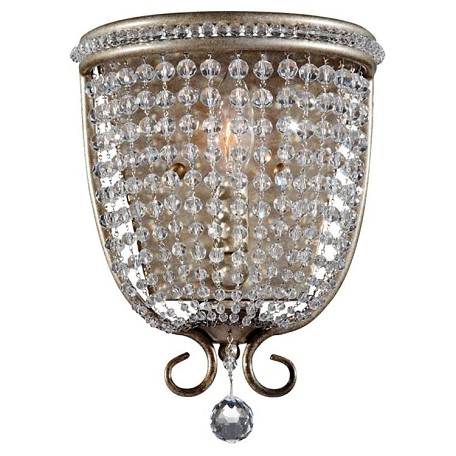 "Dutchess Collection 1-Light 8"" Burnished Silver Crystal Wall Sconce WB1586BUS"