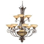 "Stirling Castle Collection 13-Light 47"" British Bronze Chandelier F1918/12+1BRB"