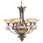 "Stirling Castle Collection 7-Light 36"" British Bronze Chandelier F1919/6+1BRB"