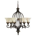 "Drawing Room Collection 6-Light 28"" Walnut Chandelier F2224/6WAL"
