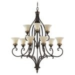 "Drawing Room Collection 9-Light 37"" Walnut Chandelier F2225/6+3WAL"