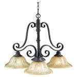 "King's Table Collection 3-Light 31"" Antique Forged Iron Mini Chandelier F2272/3AF"