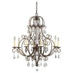 "Chateau Collection 8-Light 37"" Mocha Bronze Chandelier with Crystal F2303/8MBZ"