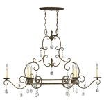 "Chateau Collection 6-Light 41"" Mocha Bronze Island Chandelier with Crystal F2304/6MBZ"