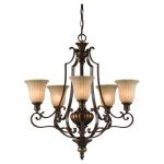 "Kelham Hall Collection 5-Light 27"" Firenze Gold/British Bronze Chandelier F2503/5FG/BRB"