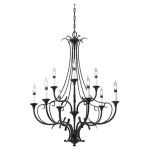 "Peyton Collection 9-Light 31"" Black Chandelier F2534/6+3BK"