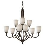 "Perry Collection 9-Light 32"" Heritage Bronze Chandelier F2585/6+3HTBZ"