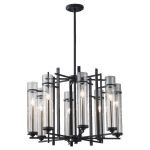 "Ethan Collection 8-Light 26"" Antique Forged Iron Chandelier with Clear Cylindrical Glass F2628/8AF/BS"