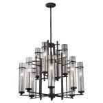 "Ethan Collection 12-Light 30"" Antique Forged Iron Chandelier with Clear Cylindrical Glass F2629/8+4AF/BS"