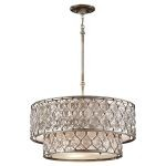 "Lucia Collection 6-Light 24"" Burnished Silver Crystal Pendant Chandelier F2707/6BUS"