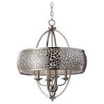 "Zara Collection 4-Light 28"" Brushed Steel Chandelier with Silver Organza Drum Shade F2736/4BS"