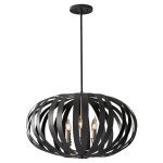 "Woodstock Collection 6-Light 25"" Textured Black Chandelier F2739/6TXB"