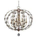 "Leila Collection 6-Light 27"" Burnished Silver Chandelier F2740/6BUS"