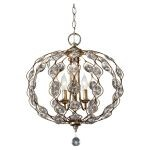 "Leila Collection 3-Light 19"" Burnished Silver Chandelier F2741/3BUS"